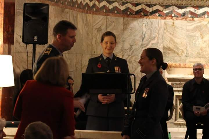 Air Officer Commanding 22 (Training) Group, Air Vice Marshall James, with Chair of the DHN, Squadron Leader Emily McCullouch and Humanist Celebrant Flight Lieutenant Ruth Staton.
