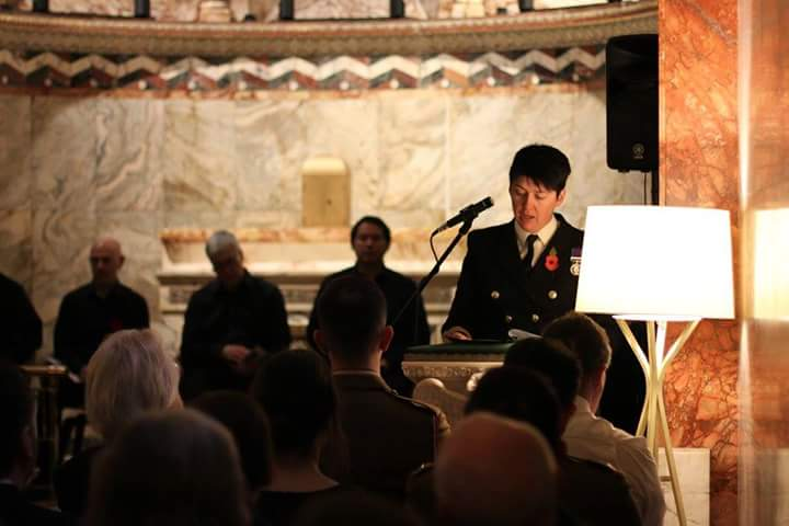 '100 years of female service within the Royal Navy' read by Lieutenant Commander Charlie Jones.